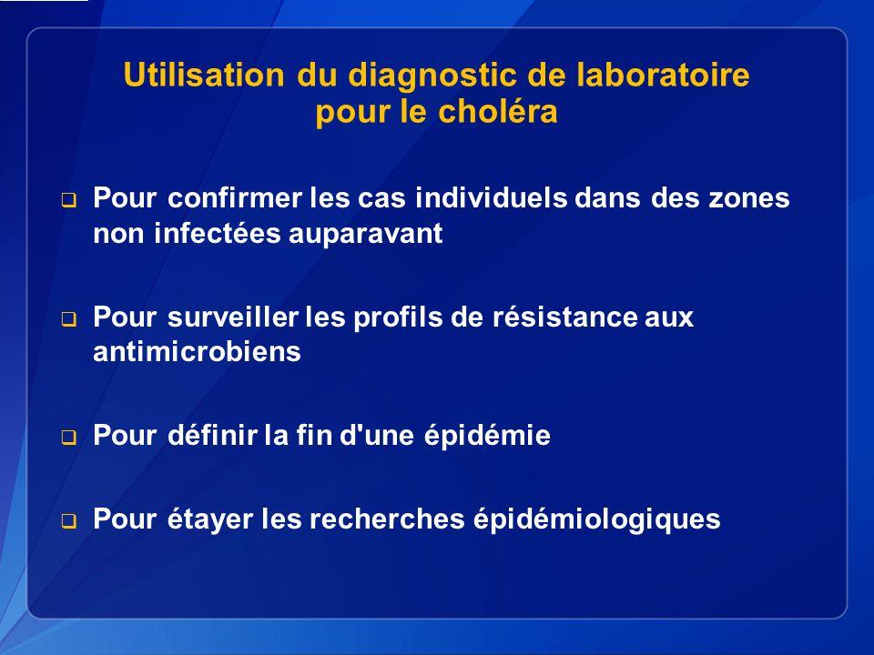 Utilisation du diagnostic de laboratoire pour le choléra