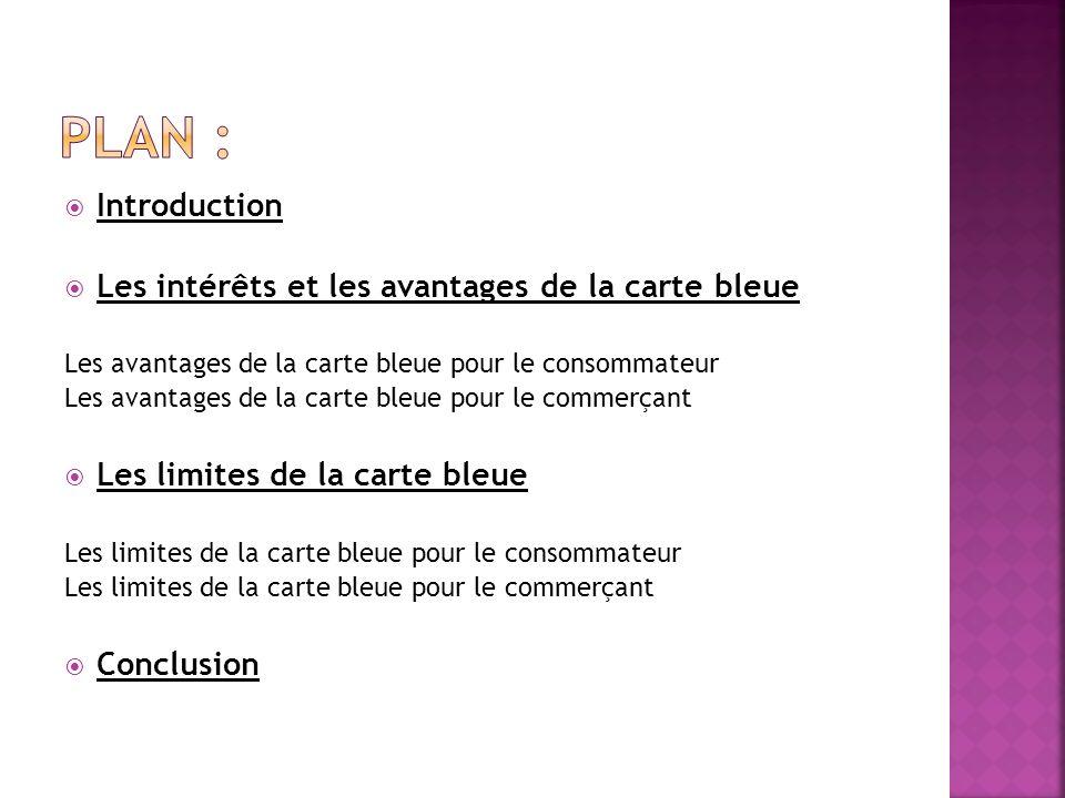 Plan : Introduction Les intérêts et les avantages de la carte bleue