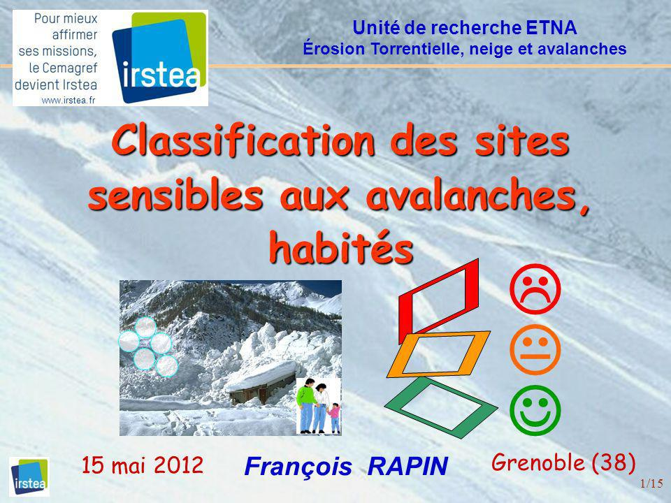  Ü Ü  Ü  Classification des sites sensibles aux avalanches, habités