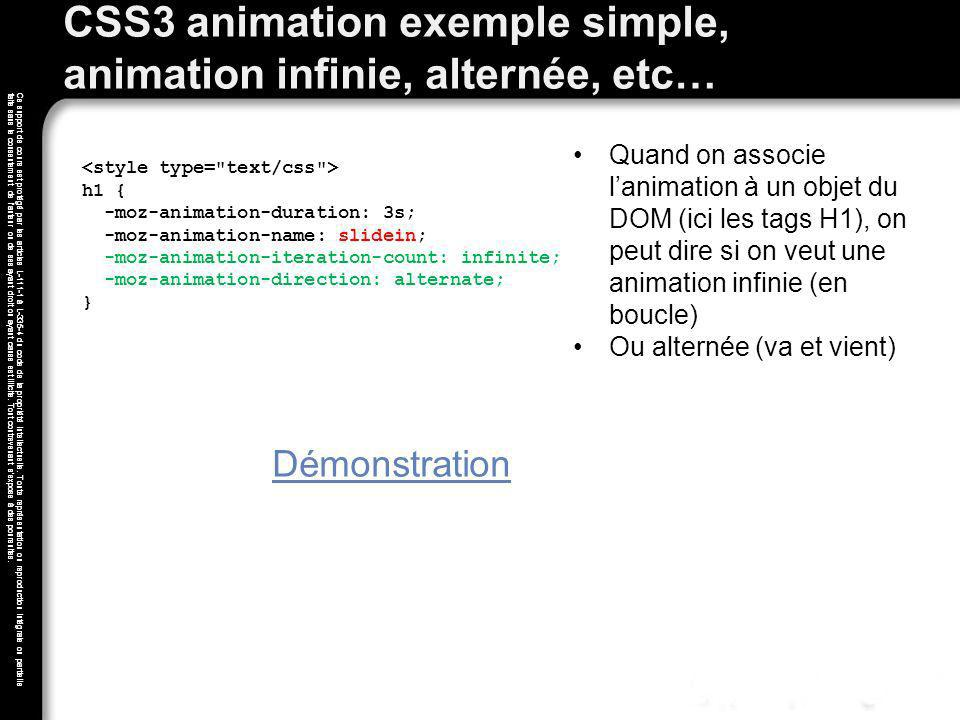 CSS3 animation exemple simple, animation infinie, alternée, etc…