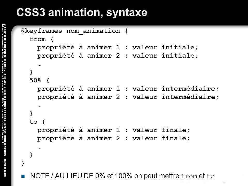 CSS3 animation, syntaxe
