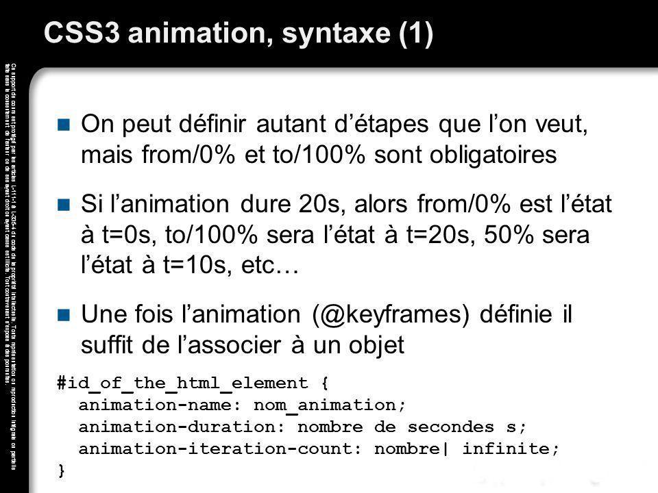 CSS3 animation, syntaxe (1)