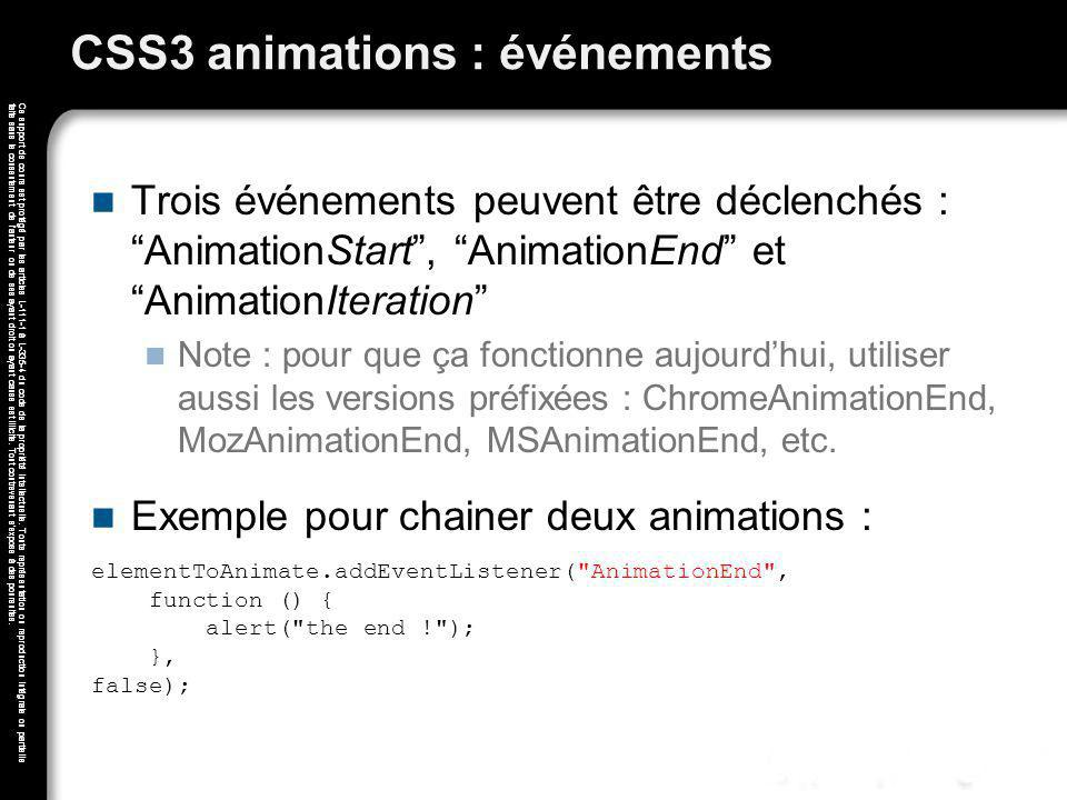CSS3 animations : événements