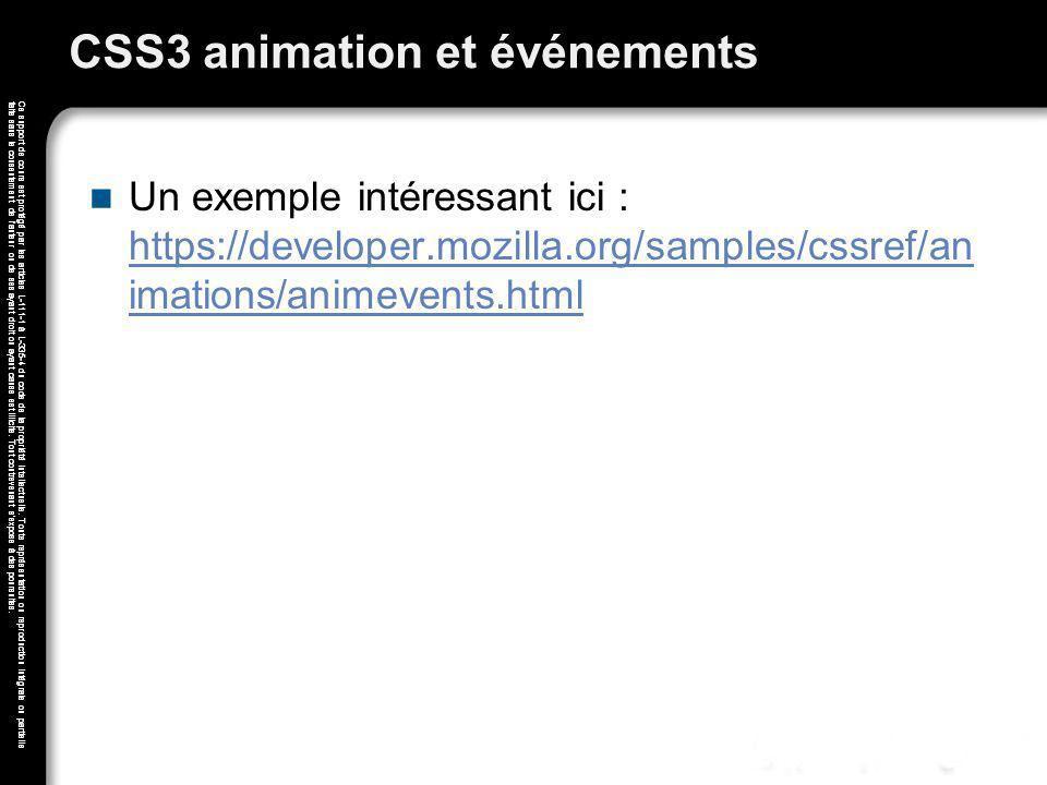 CSS3 animation et événements