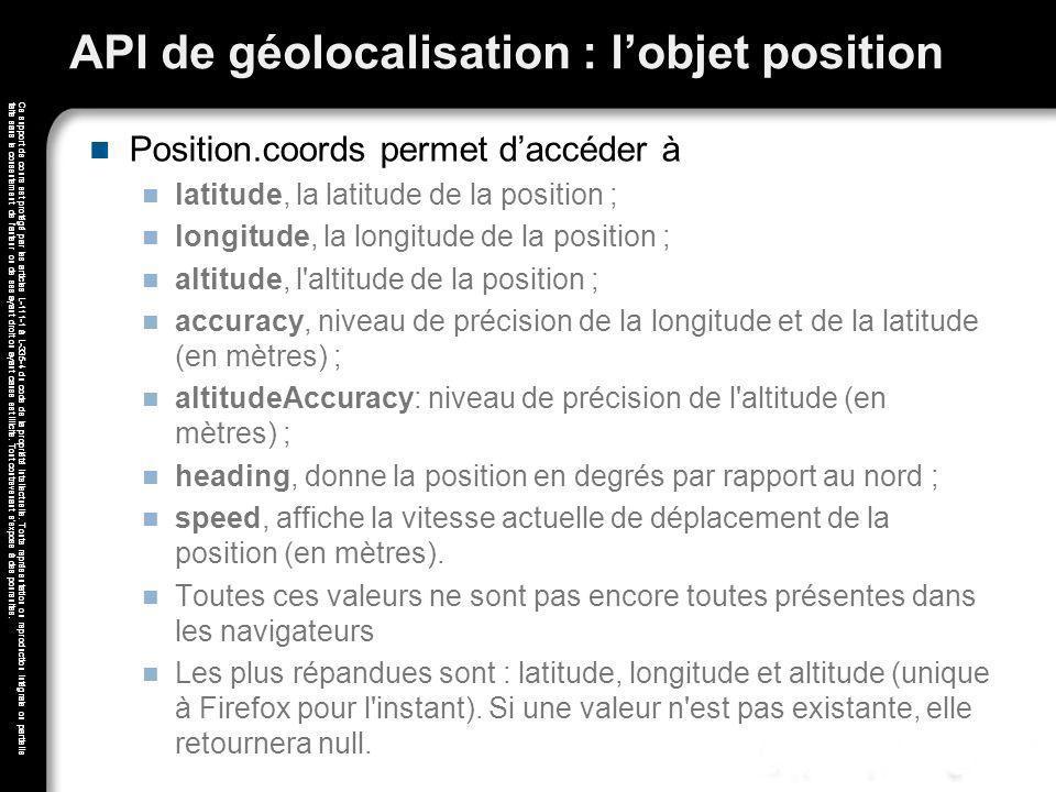 API de géolocalisation : l'objet position
