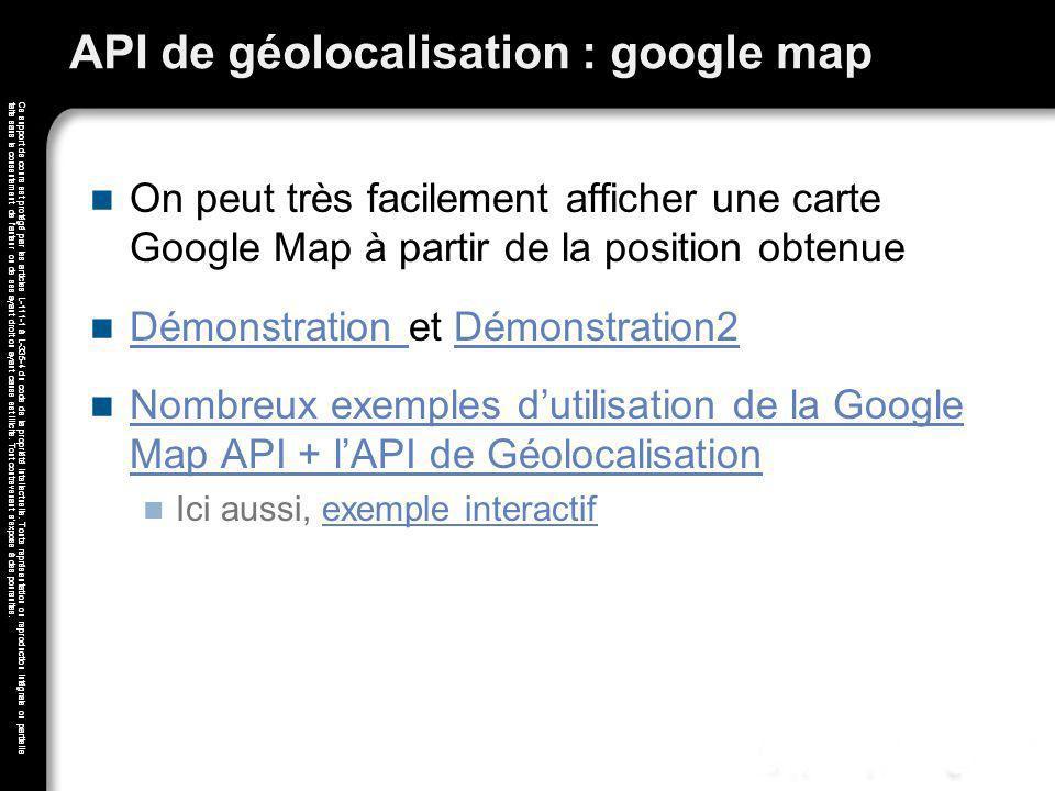 API de géolocalisation : google map
