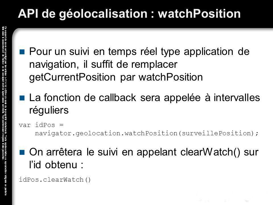 API de géolocalisation : watchPosition