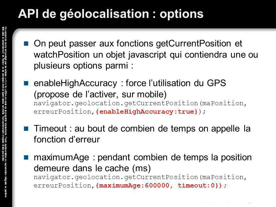 API de géolocalisation : options