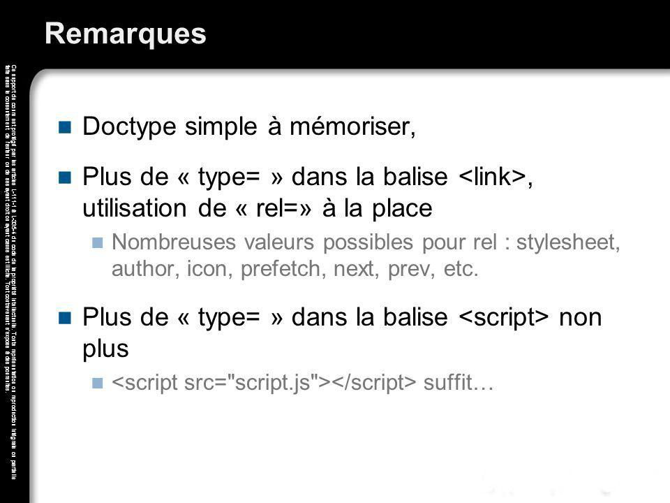 Remarques Doctype simple à mémoriser,