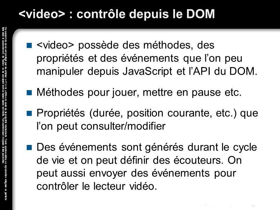 <video> : contrôle depuis le DOM