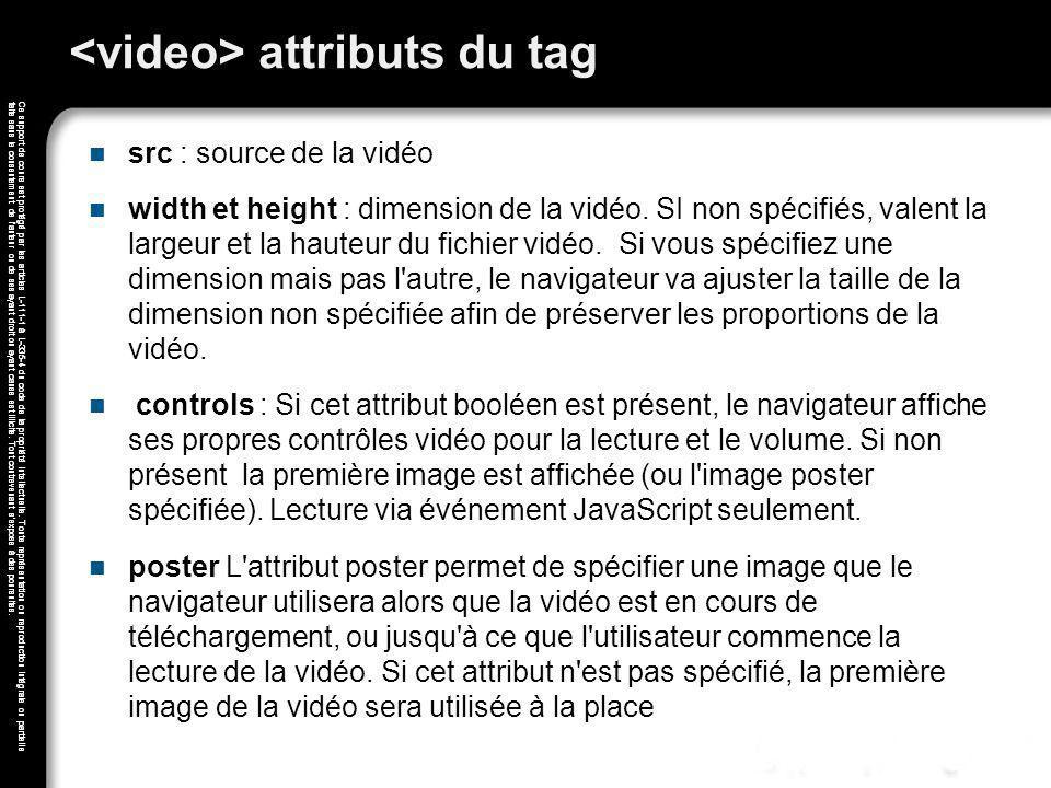 <video> attributs du tag