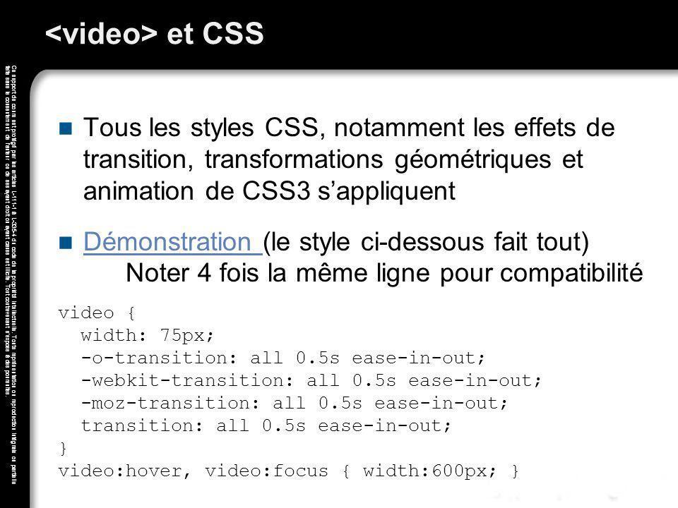 <video> et CSS Tous les styles CSS, notamment les effets de transition, transformations géométriques et animation de CSS3 s'appliquent.