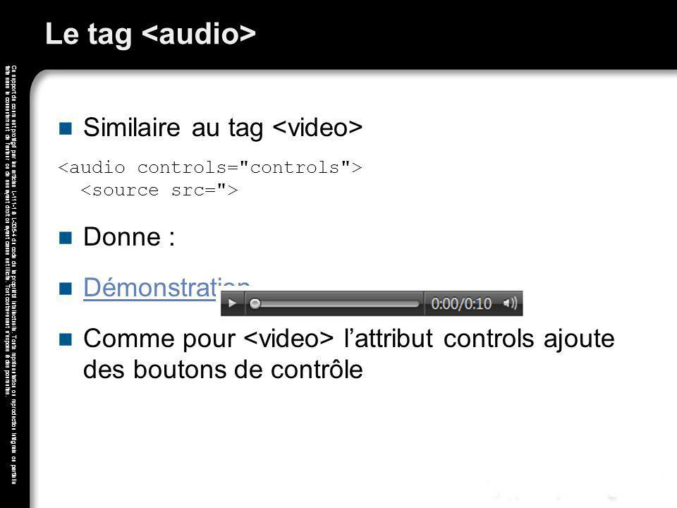 Le tag <audio> Similaire au tag <video> Donne :