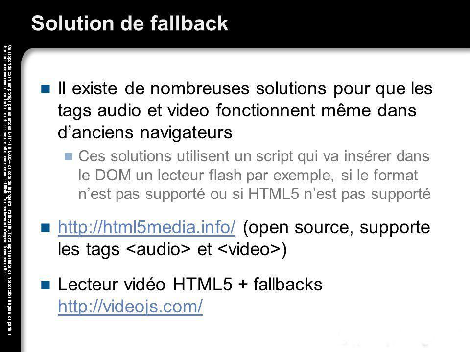Solution de fallback Il existe de nombreuses solutions pour que les tags audio et video fonctionnent même dans d'anciens navigateurs.