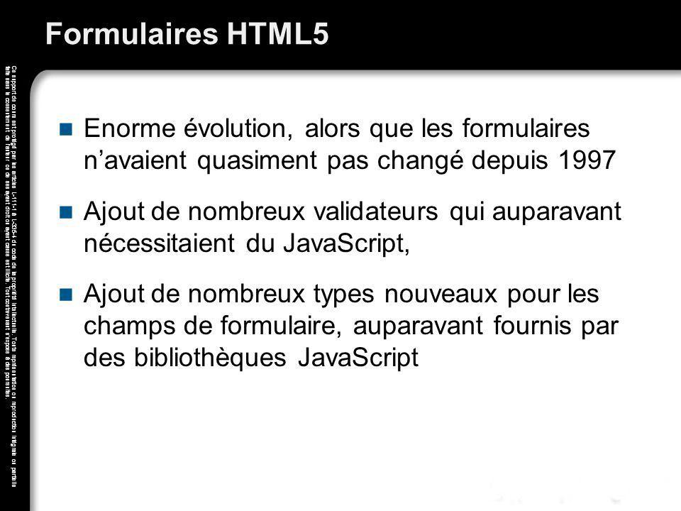 Formulaires HTML5 Enorme évolution, alors que les formulaires n'avaient quasiment pas changé depuis 1997.
