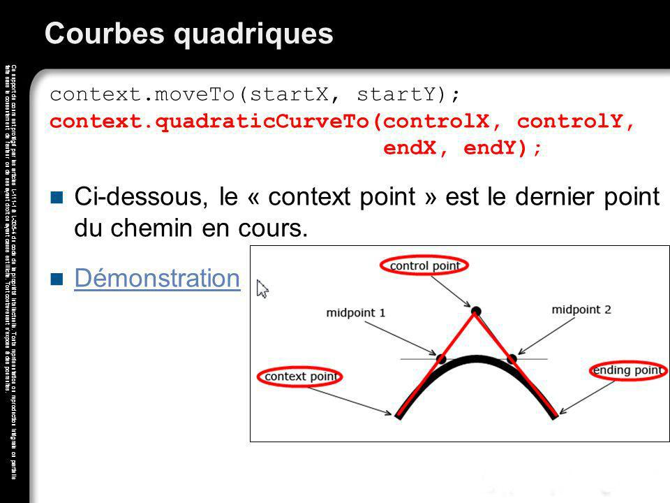 Courbes quadriques context.moveTo(startX, startY); context.quadraticCurveTo(controlX, controlY, endX, endY);