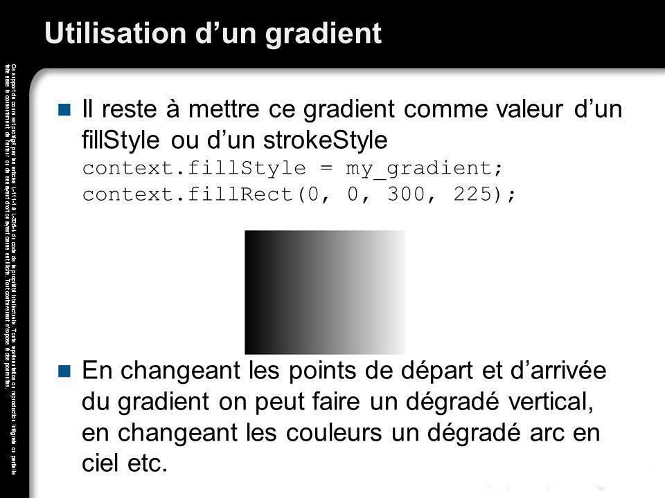 Utilisation d'un gradient