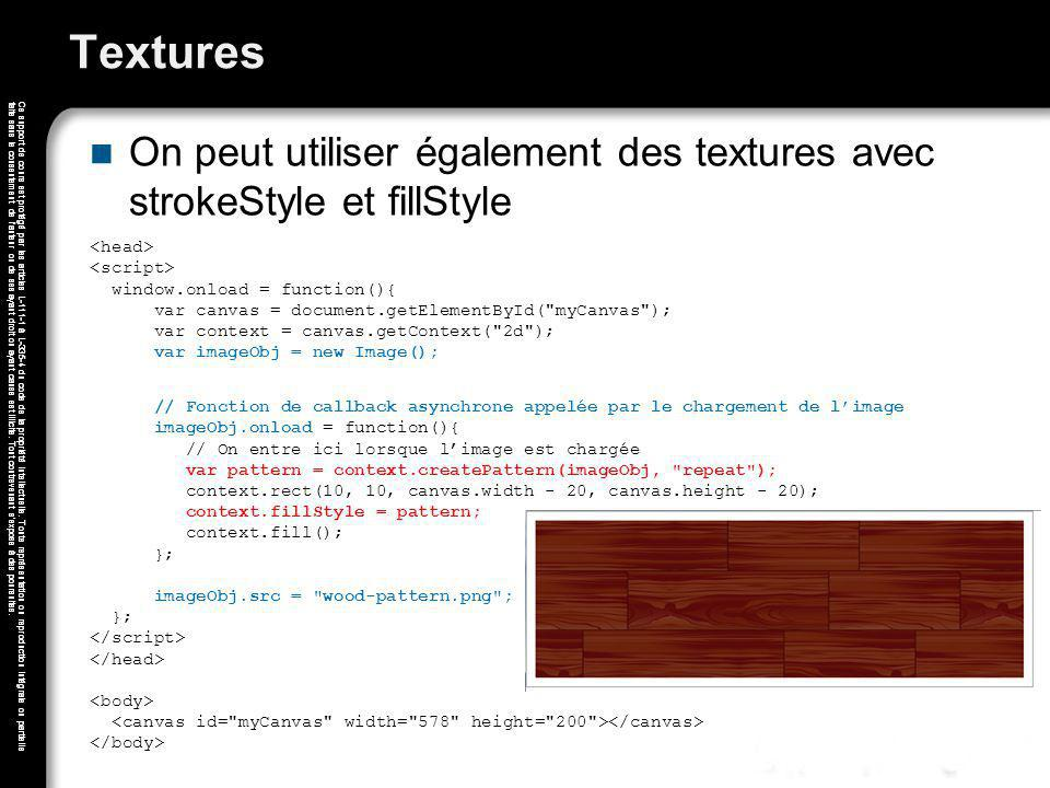 Textures On peut utiliser également des textures avec strokeStyle et fillStyle.