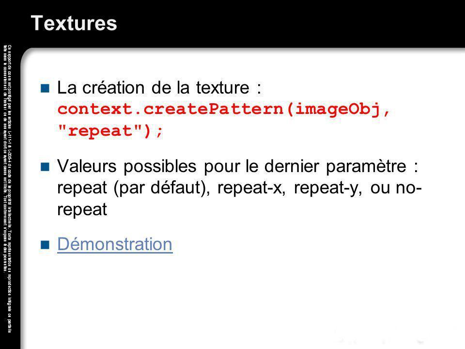 Textures La création de la texture : context.createPattern(imageObj, repeat );