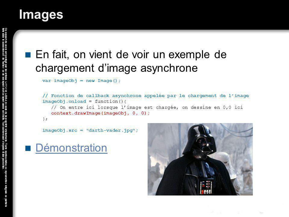 Images En fait, on vient de voir un exemple de chargement d'image asynchrone. var imageObj = new Image();