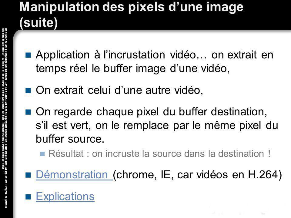 Manipulation des pixels d'une image (suite)