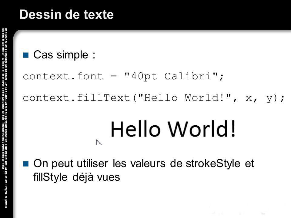 Dessin de texte Cas simple : context.font = 40pt Calibri ;