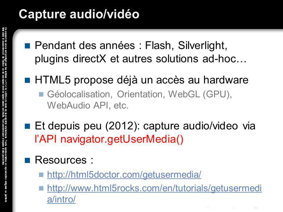 Capture audio/vidéo Pendant des années : Flash, Silverlight, plugins directX et autres solutions ad-hoc…