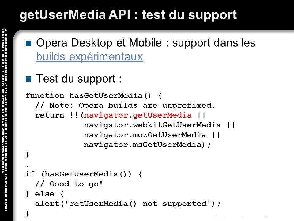 getUserMedia API : test du support