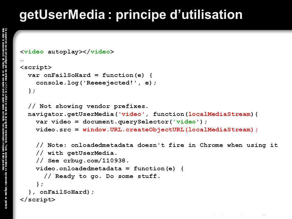 getUserMedia : principe d'utilisation