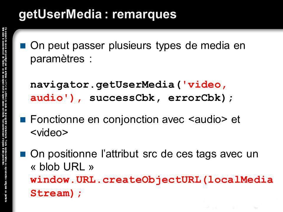getUserMedia : remarques