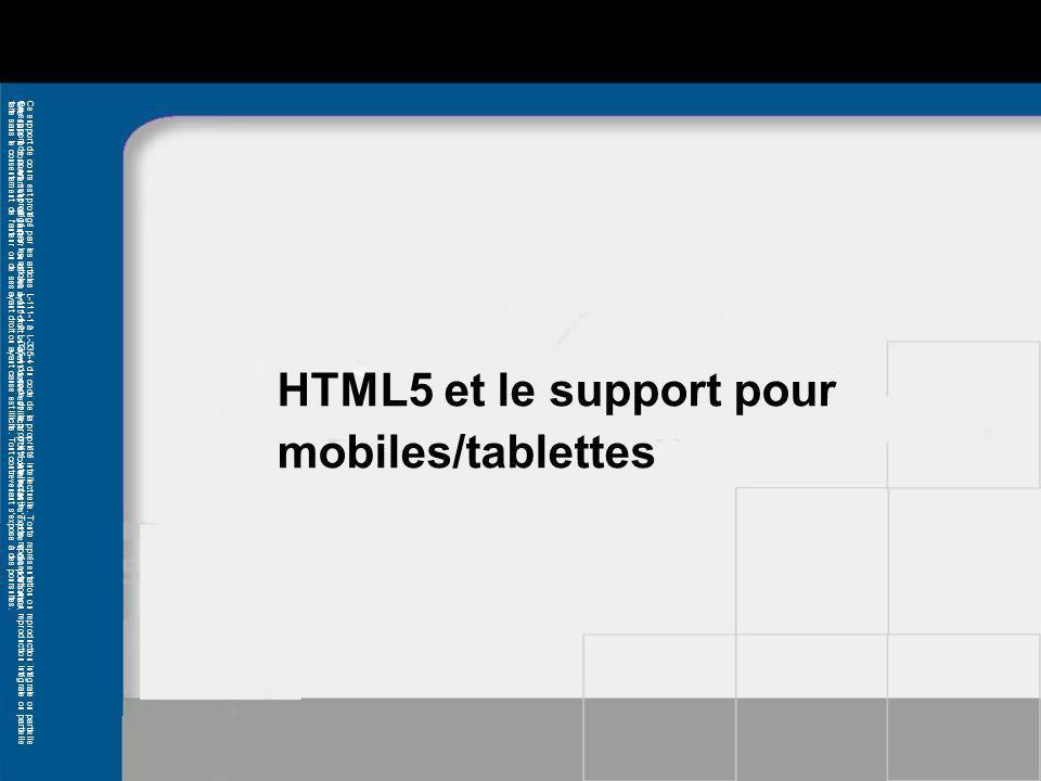 HTML5 et le support pour mobiles/tablettes