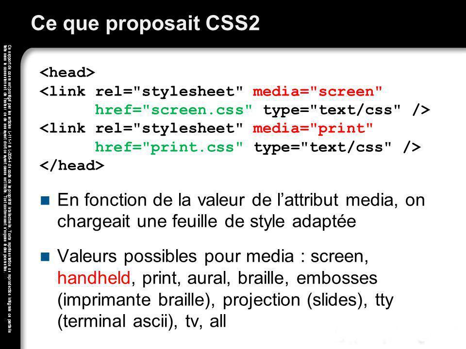 Ce que proposait CSS2