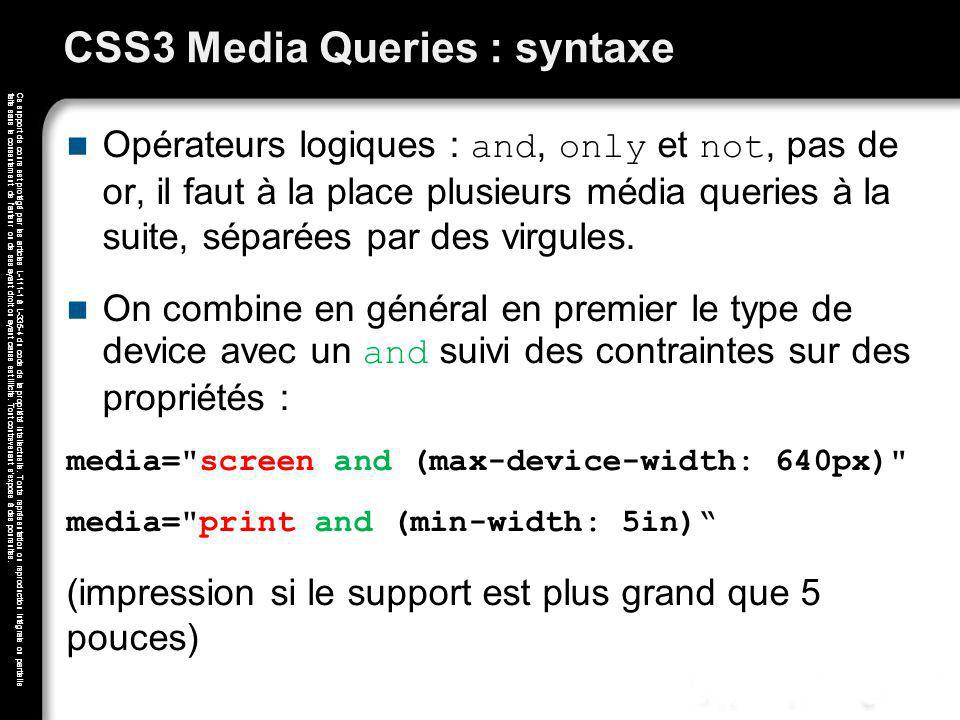 CSS3 Media Queries : syntaxe