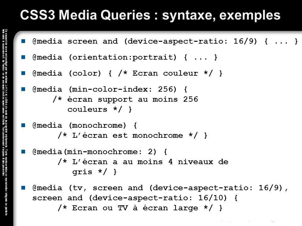 CSS3 Media Queries : syntaxe, exemples
