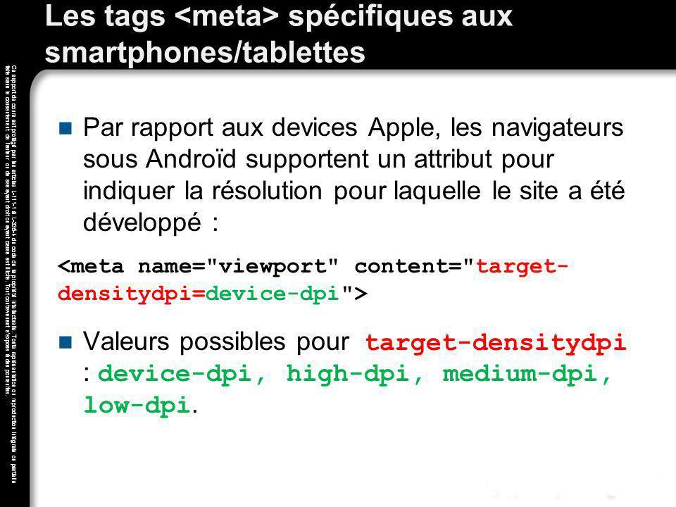 Les tags <meta> spécifiques aux smartphones/tablettes
