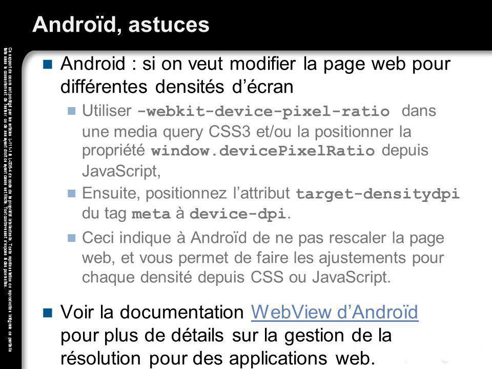 Androïd, astuces Android : si on veut modifier la page web pour différentes densités d'écran.