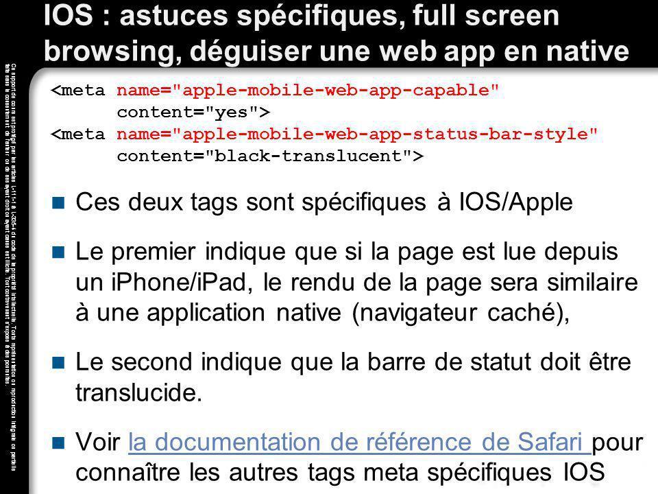 IOS : astuces spécifiques, full screen browsing, déguiser une web app en native