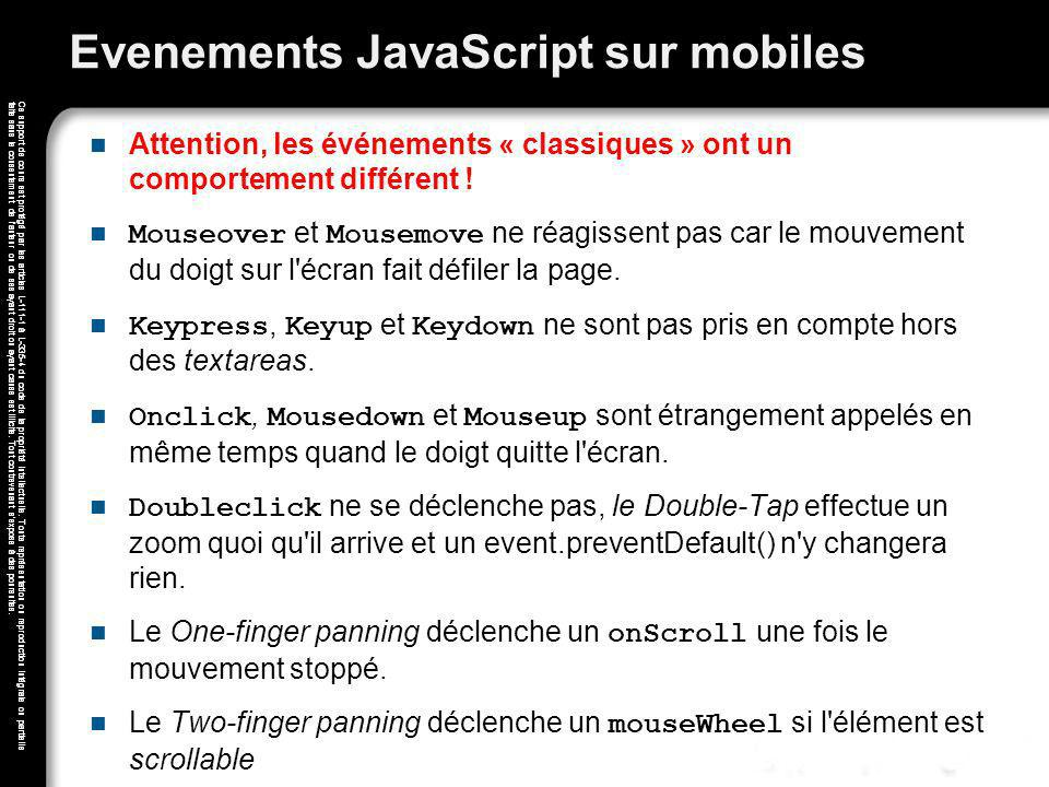 Evenements JavaScript sur mobiles