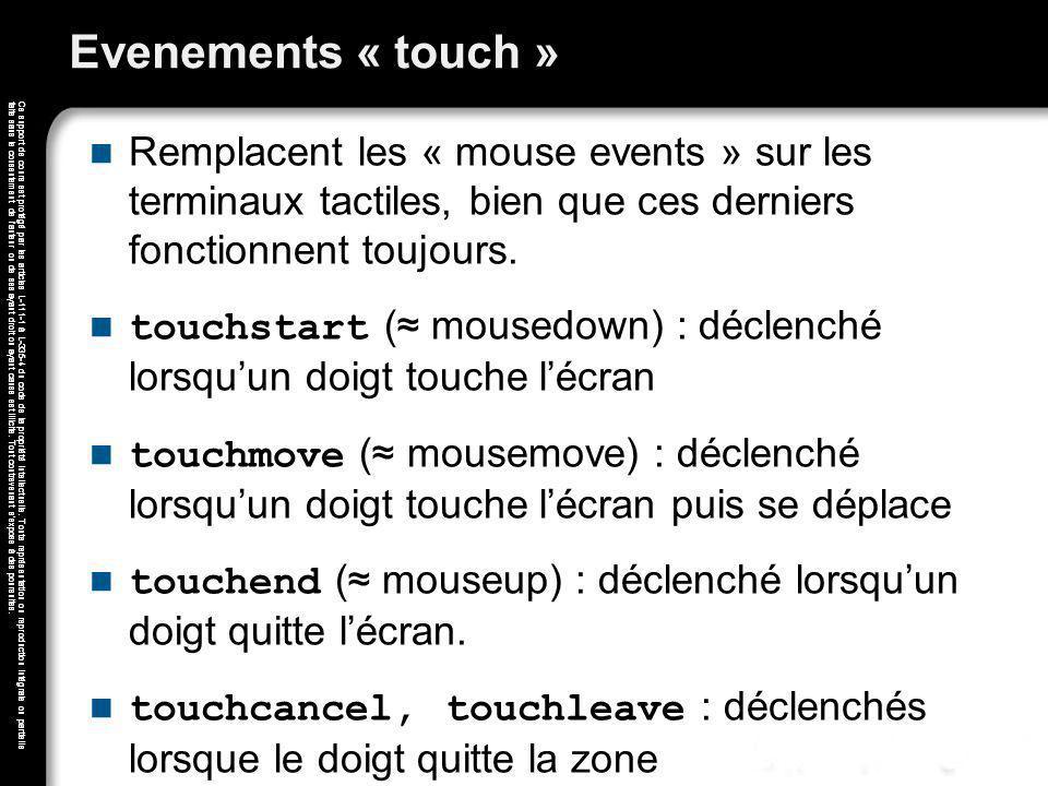 Evenements « touch » Remplacent les « mouse events » sur les terminaux tactiles, bien que ces derniers fonctionnent toujours.
