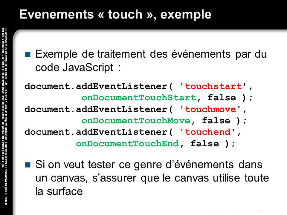 Evenements « touch », exemple
