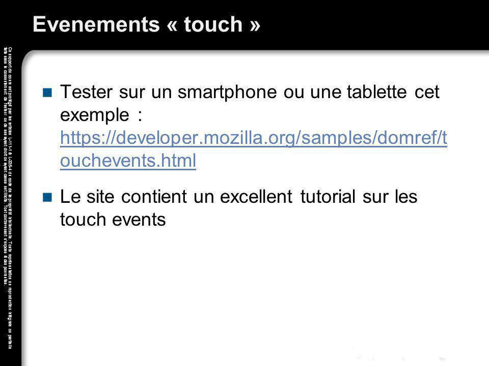 Evenements « touch » Tester sur un smartphone ou une tablette cet exemple : https://developer.mozilla.org/samples/domref/t ouchevents.html.