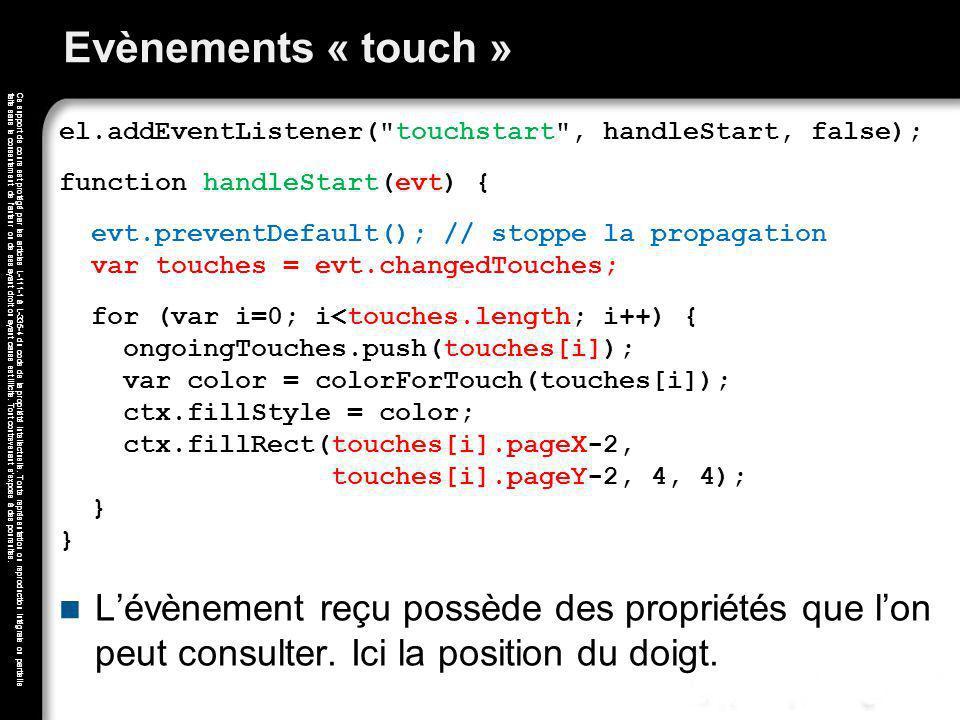 Evènements « touch » el.addEventListener( touchstart , handleStart, false); function handleStart(evt) {