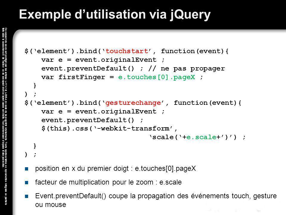 Exemple d'utilisation via jQuery