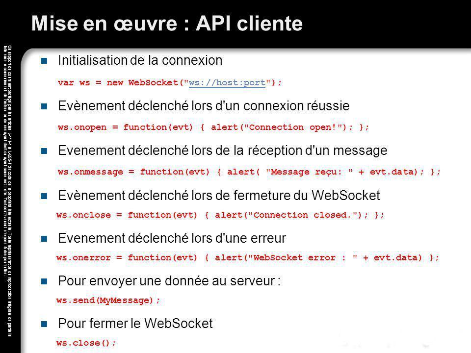 Mise en œuvre : API cliente