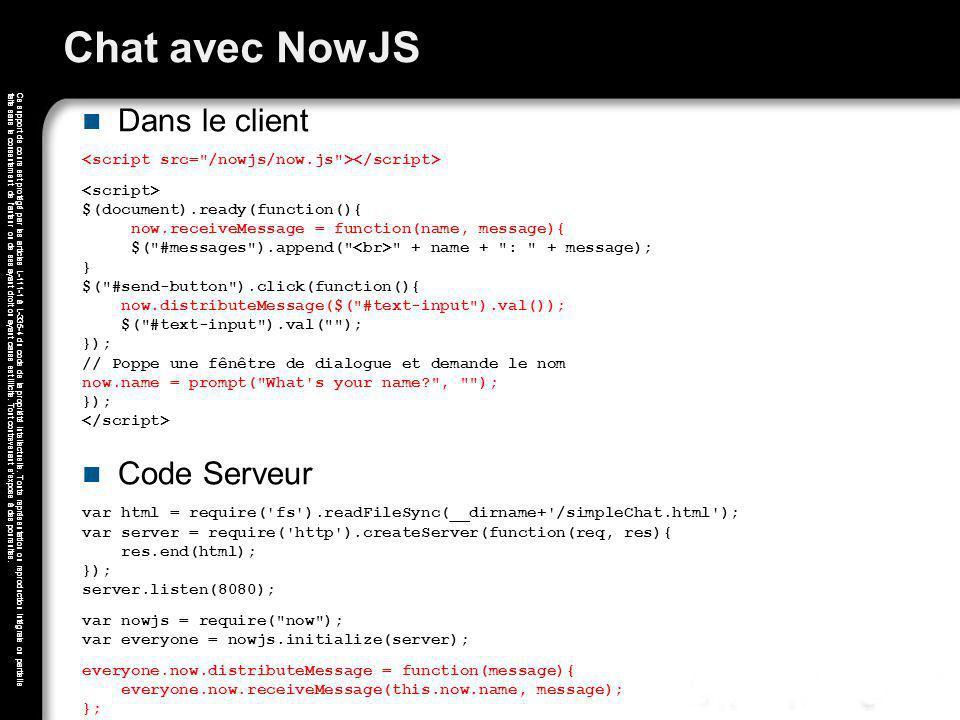 Chat avec NowJS Dans le client Code Serveur