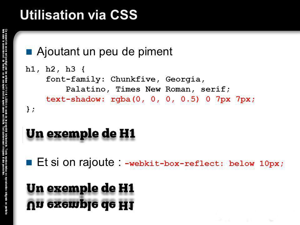 Utilisation via CSS Ajoutant un peu de piment