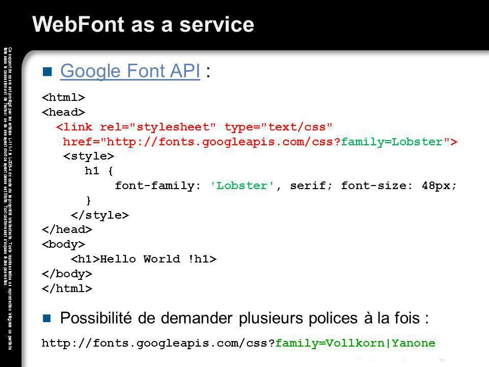 WebFont as a service Google Font API :