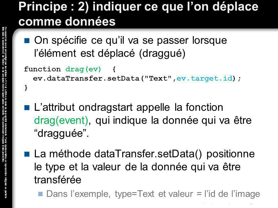 Principe : 2) indiquer ce que l'on déplace comme données
