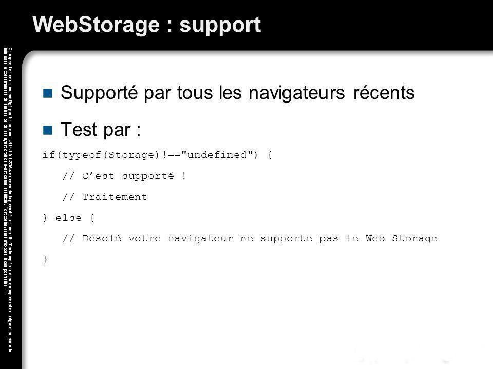 WebStorage : support Supporté par tous les navigateurs récents