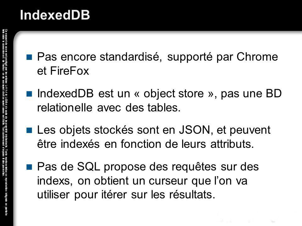 IndexedDB Pas encore standardisé, supporté par Chrome et FireFox